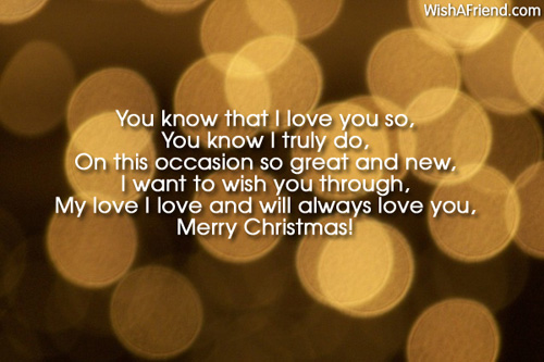 You know that I love you, Christmas Message for Boyfriend