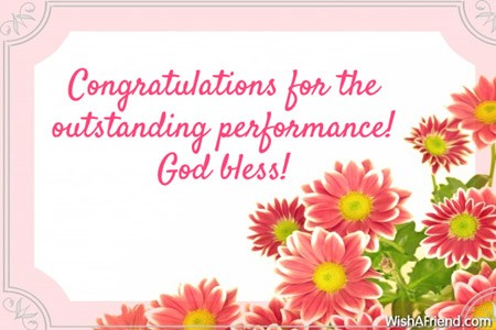 congratulations for the outstanding performance god