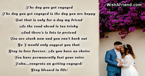 The day you got engaged funny engagement poem