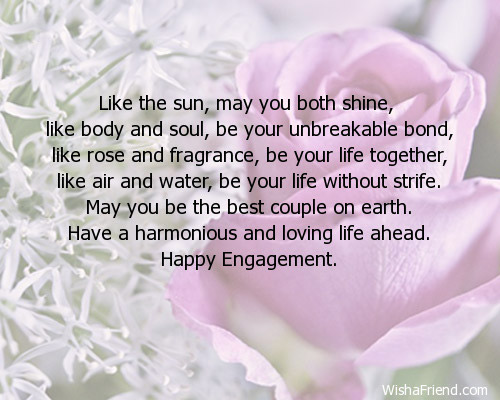 Like The Sun May You Both Engagement Card Message