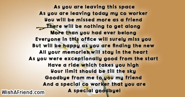 Farewell Poem For A Colleague Leaving