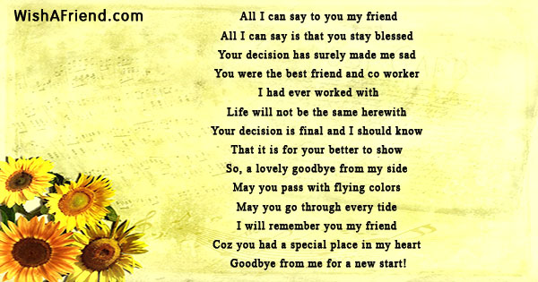 sad goodbye poems for friends