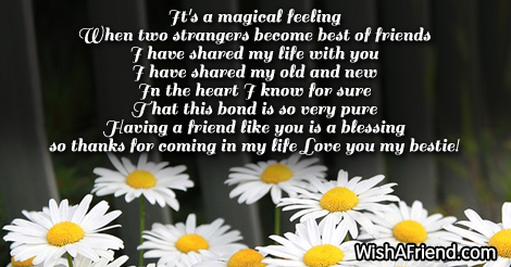 It is such a magical feeling , Poem For Best Friends