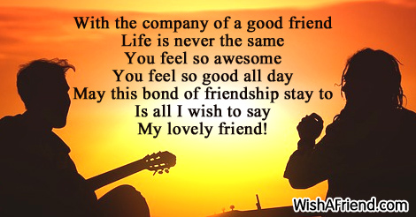 with the company of a good friendship message