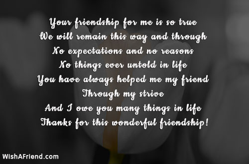 Your friendship for me is so, Best Friend Quote