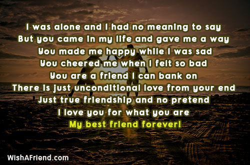 i was alone and i had best friend message