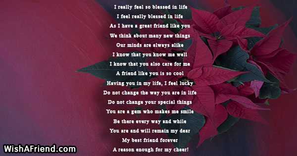 I really feel so blessed in life , True Friends Poem