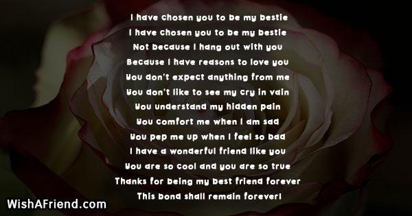I have chosen you to be my bestie , True Friends Poem
