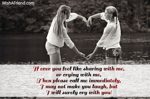 If Ever You Feel Like Sharing, Friendship Message