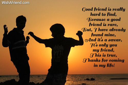 good friend is really hard to friendship message