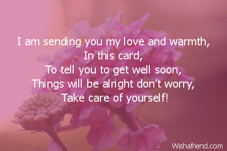 i am sending you my love get well soon card message