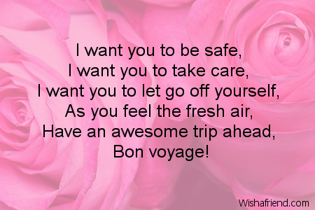 Bon voyage message to a friend