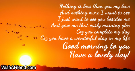 Good Morning Message For Wife, Nothing is less than you my