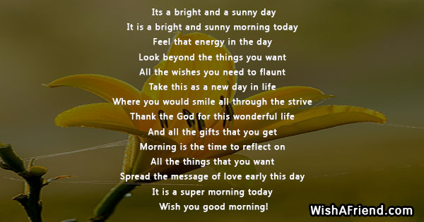 Good Morning Quote, Its a bright and a sunny
