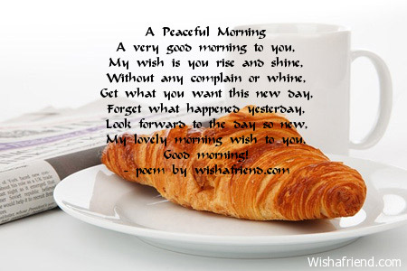 Good Morning Poems For Him A peaceful morning