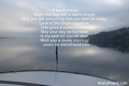 Good morning poem a warm prayer a warm prayer altavistaventures Gallery