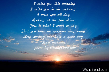 I Miss You This Morning