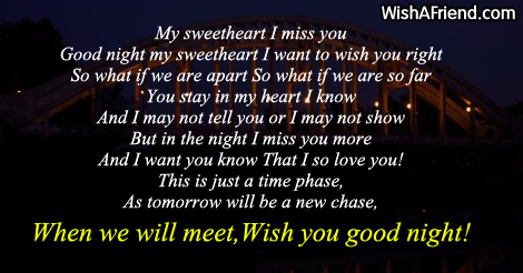 My sweetheart I miss you , Good Night Poem for Him