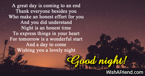 Goodnight message to a friend