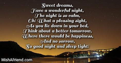Sweet poems short goodnight Good Night