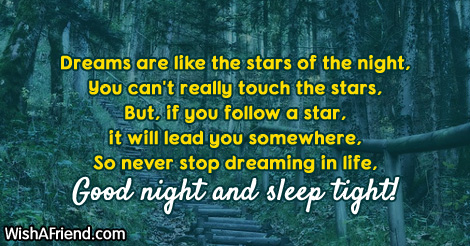 Dreams are like the stars of, Cute Good Night Message