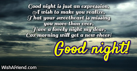 Good night is just an expression,, Good Night Message For