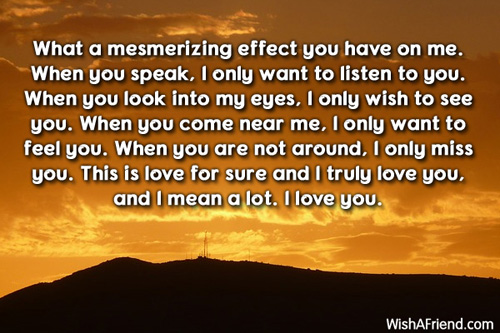 What A Mesmerizing Effect You Have Romantic Love Letters