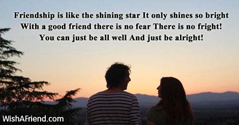 Friendship is like the shining star, Cute Message For Friends