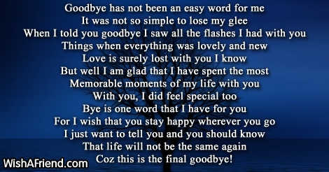 Goodbye to you my love Goodbye Love Poem