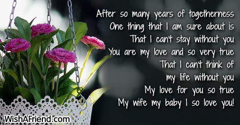 after so many years of togetherness love message for wife
