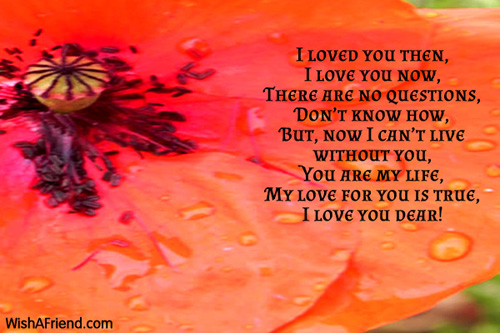 Can't Live Without You Dear, Romantic Poem