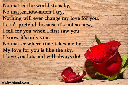 When I first saw you , I Love You Poem