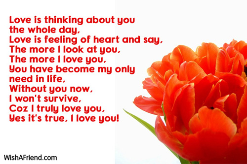 Love is thinking about you the, I Love You Message