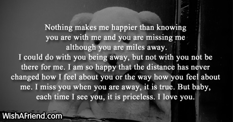 Nothing makes me happier than knowing, Missing You Message