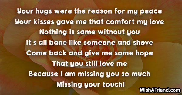 Your hugs were the reason for, Missing You Message For Ex