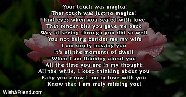 Your touch was magical , Missing You Poem For Wife