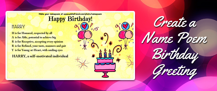 Make A Cute Name Poem Birthday Greeting