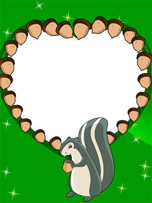 Glasses Frame Generator : Create Photo Frames Online - Squirrel with a Nutty Heart