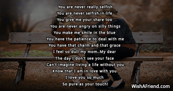 you are never really selfish poem for mother