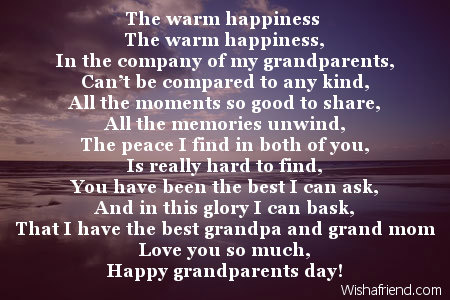 The warm happiness , Poem For Grandparents Day