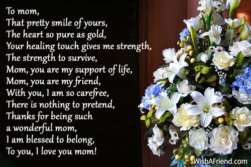 To my mom, Poem For Mother