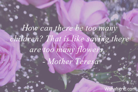 How Can There Be Too Many Children That Is Like Saying Are Flowers Mother Teresa
