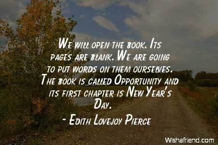 we will open the book its pages are blank we are going to put words on them ourselves the book is called opportunity and its first chapter is new years