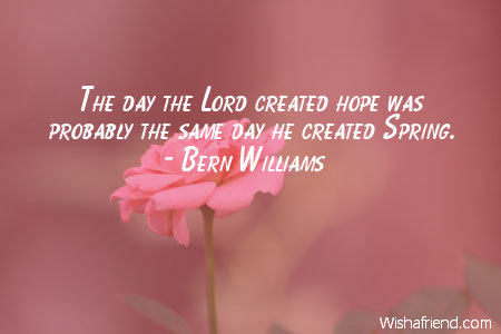 bern williams quote the day the lord created hope was