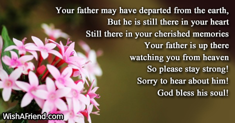 Your father may have departed from, Sympathy Message For ...