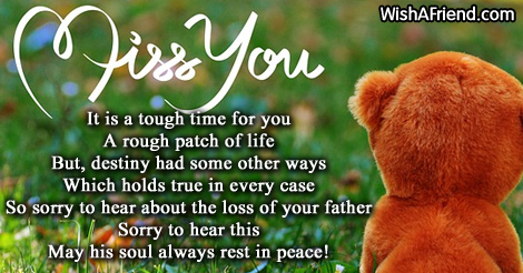 it is a tough time for sympathy message for loss of father