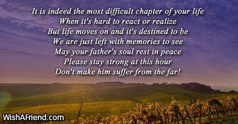 it is indeed the most difficult sympathy message for loss of father