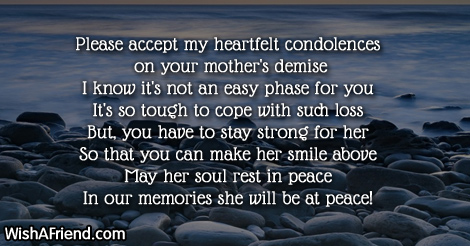 condolence message to friend who lost his mother