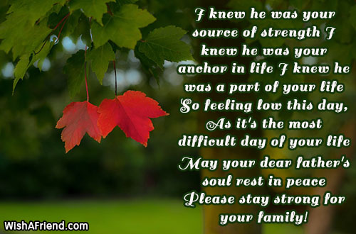 i knew he was your source sympathy message for loss of father