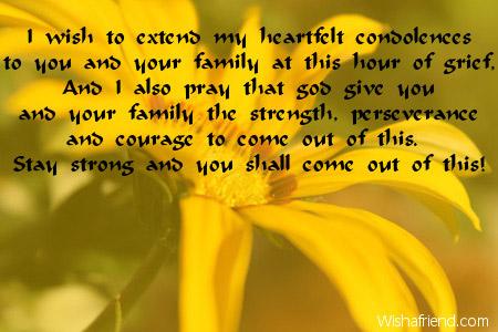 i wish to extend my heartfelt condolence message
